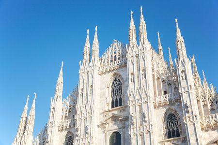 The facade of Duomo di Milano (Milan Cathedral) Italy