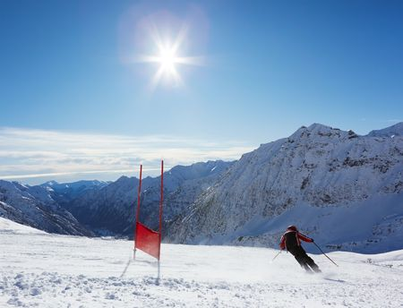 slalom: Młoda narciarz ten zjazd na Slalom gigant oczywiście; poziomej orientacji, duża kopia miejsca.