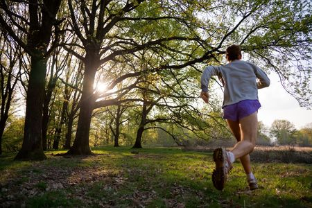 healthy path: Young man trail running in a forest.
