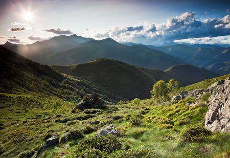 Mountain landscape, summer season, horizontal orientation. Italian alps Standard-Bild