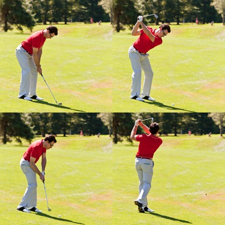 white pants: Sequence of a golfer hitting a fairway shot. One young white male golfer, red shirt and white pants, goes for the green on the fairway. Clear summer day, back-light. Four frames square composition.