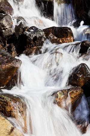 Small mountain torrent with clear fresh water photo