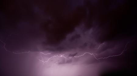Real lightning on stormy sky Stock Photo - 14206899