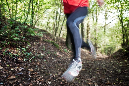 Male trail runner running in the forest on a trail  Red shirt and black pants  Summer season  Slight blur in runner to show motion  Horizontal composition  photo