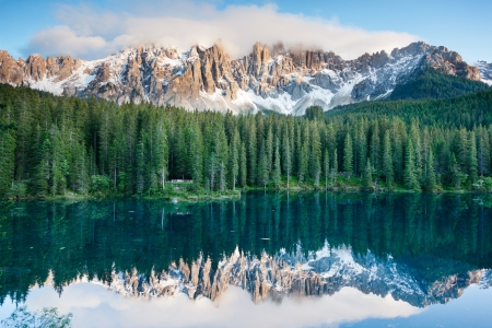 dolomites: Karersee  Lago di Carezza , is a lake in the Dolomites in South Tyrol, Italy