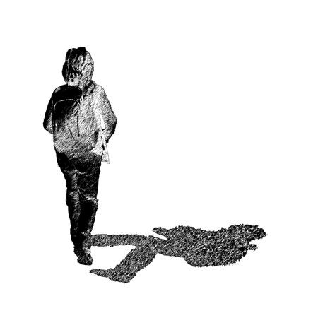 niños caminando: Silueta estilizada de un niño caminando con una mochila en un sendero de montaña Foto de archivo