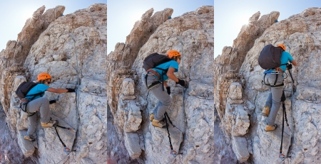 Young boy climbing a via ferrata in the Italian Dolomites  Sequence composed of three photographs illustrating the progression of climbing on via ferrata  photo