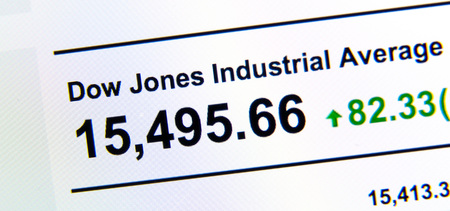 dow: Dow Jones stock market index on a LCD screen