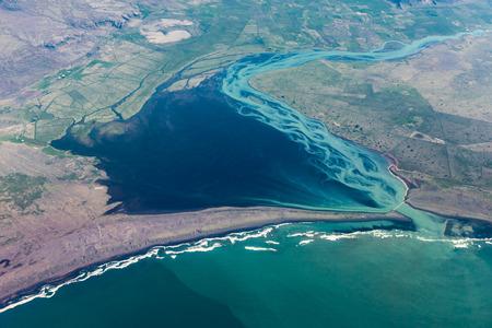 Aerial photography of the southern icelandic coast  Ölfusá estuary, the icelandic largest river