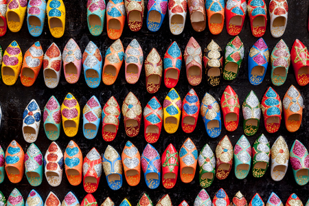 souk: Colorful moroccan slippers  the famous artigianal handmade Babouches marocaines