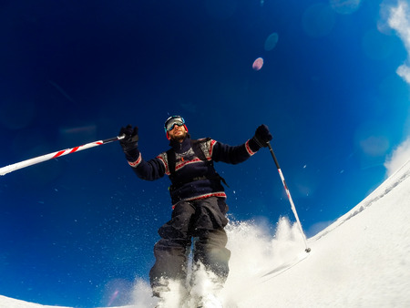 offpiste: Skiing on powder snow.   Stock Photo