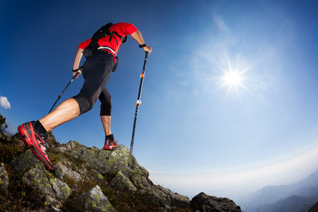 ski walking: Skyrunning: rear view of a young male runner walking along a mountain trail. Sunny summer day. West Alps, Italy, Europe. Stock Photo