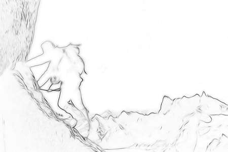 mountaineering: Male climber, Rock-climbing sport. Stylized silhouette with outline sketch effect.