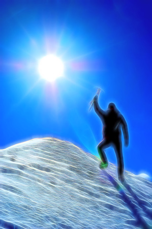 Climber reaching the summit of a mountain. Stylized silhouette with fantasy-painting effect. photo