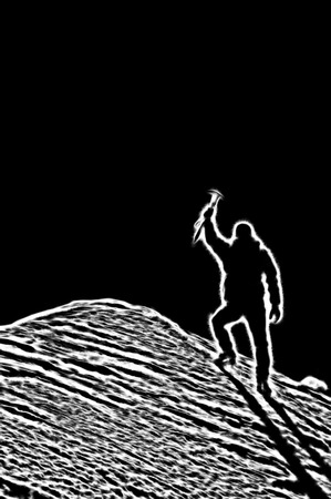 Mountaineer reaches the top of a mountain peak and expresses his joy. Stylized silhouette. photo