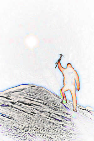 reaches: Mountaineer reaches the top of a mountain peak and expresses his joy. Stylized silhouette with fantasy-painting effect.