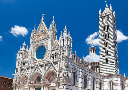siena: Detail of Siena cathedral in a sunny summer day, Tuscany, Italy, Europe.