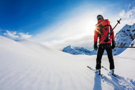 스키 : 파우더 눈 속에서 스키어의 후면보기. 이탈리아 알프스, 유럽. 스톡 콘텐츠