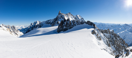 mp: Mont Blanc, France: winter panorama on Geant Glacier and Valle Blanche from Punta Helbronner. XXXL size: 63 MP, ideal for extra-large print.