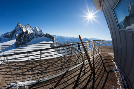 skyway: Landscape from the upper station (3466 mt) of the Skyway cable-car. Panorama over Mont Blanc glaciers. Winter sunny day. Courmayer, Italian Alps, Europe. Stock Photo