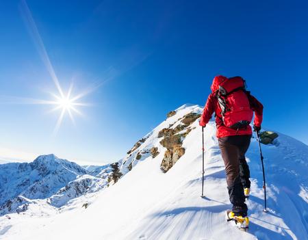 kopie: Extrémní zimní sporty: horolezec na vrcholu zasněžené vrcholu v Alpách. Koncepty: určení, úspěch, statečný.