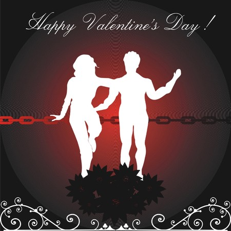 Abstract colorful illustration with young couple standing on a chain near red flowers. Valentines Day concept Vector