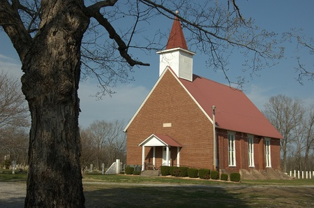 Little red brick church in the Bodenham community near Pulaski, Giles County, Tennessee 版權商用圖片