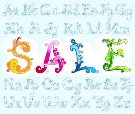 retro font: Carattere retr� elegante, pieno di alfabeti