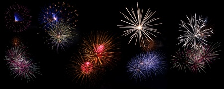 Collection of high resolution fireworks part 1  Stock Photo