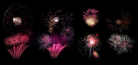 the end of the year: Collection of high resolution fireworks part 2 Stock Photo