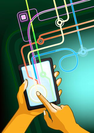 surfing the net: A digital touch pad being held with the right hand while the other hand touching screen Illustration