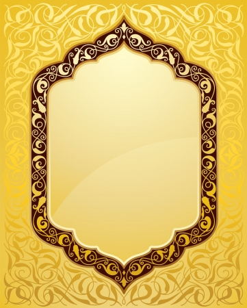 islamic design: Elegant islamic template design in gold background. Ideal for Eid and Ramdan greetings.