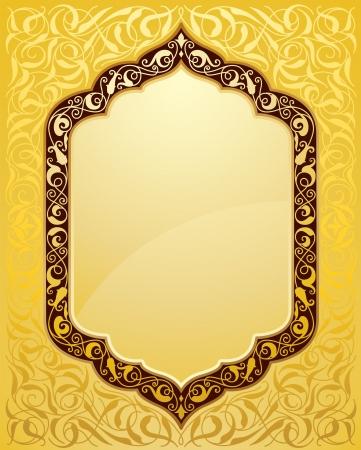 Elegante islamitische template ontwerp in goud achtergrond. Ideaal voor Eid en Ramdan groeten. Vector Illustratie