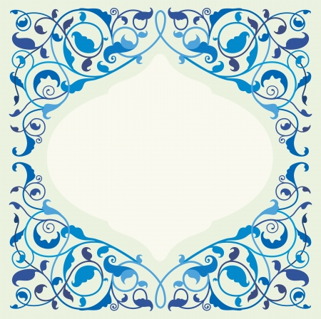 blue background pattern: Islamic floral art in monochromatic blue Illustration