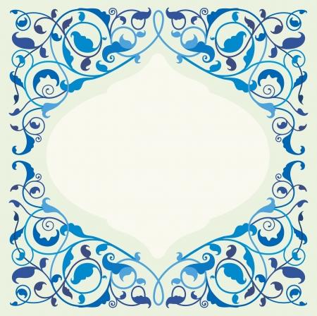 arabisch patroon: Islamitische florale kunst in monochroom blauw Stock Illustratie