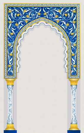 Islamic arch design in classic blue color eps 10 vector Vector