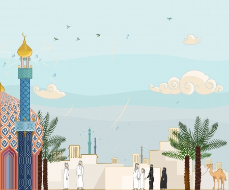 kuwait: Islamic prayer time - High detailed  illustration of islamic community going to the mosque for worship.