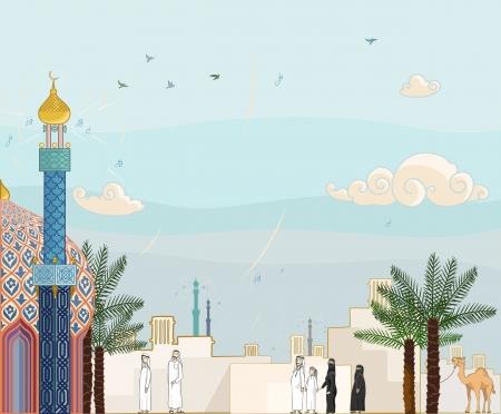 koweit: Temps de pri�re islamique - Haute illustration d�taill�e de la communaut� islamique aller � la mosqu�e pour le culte.