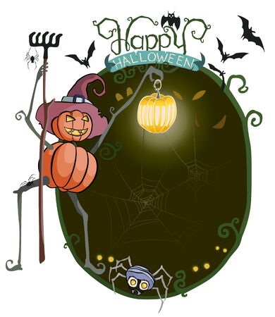 illustration of curious scarecrow pumpkins holding lantern and rake looking at the dark with lots of scary elements