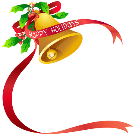 christmas bell: Vector illustration of christmas bell with poinsettia and red ribbon in EPS10 format