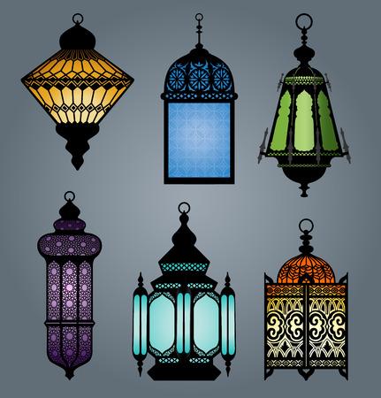 lantern: High quality vector set of arabic lantern part 2