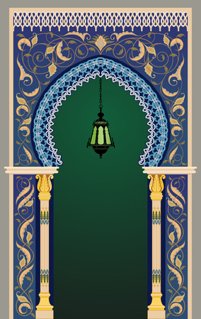 frontage: Islamic decorative arc with lantern - eps10