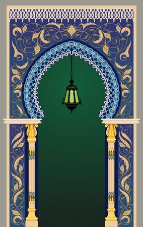 marokko: Islamitische decoratieve boog met lantaarn - eps10 Stock Illustratie