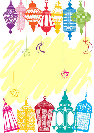Vibrant colored Lantern greeting cards background Vector