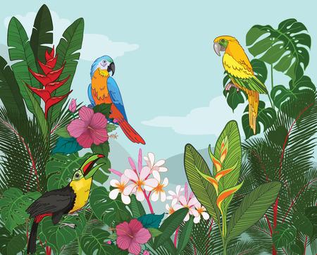 tropical: Tropical Paradise vector illustration Illustration