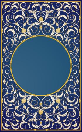 cover book: Decorative ornaments design in blue background (EPS10)