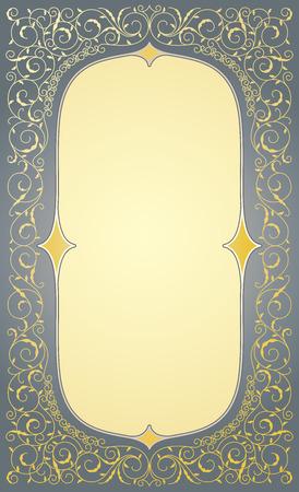 arabesque pattern: Floral gold decorative frame in eps10 format