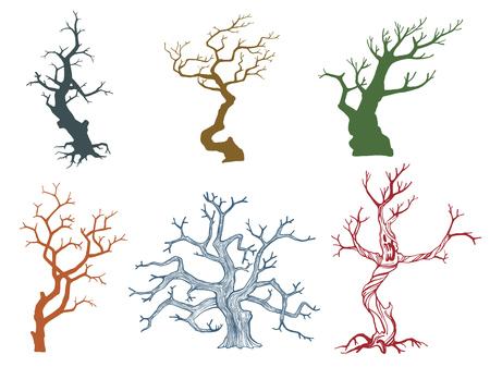 dead tree: Set of Dead tree vector illustration eps10 format