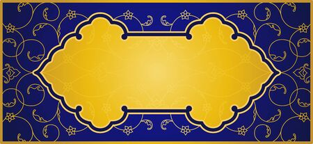 Vector illustration of islamic art in elegant blue and gold colours