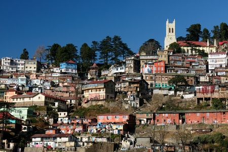 View on the Shimla, Indian rest city, in Himalaya mountains.